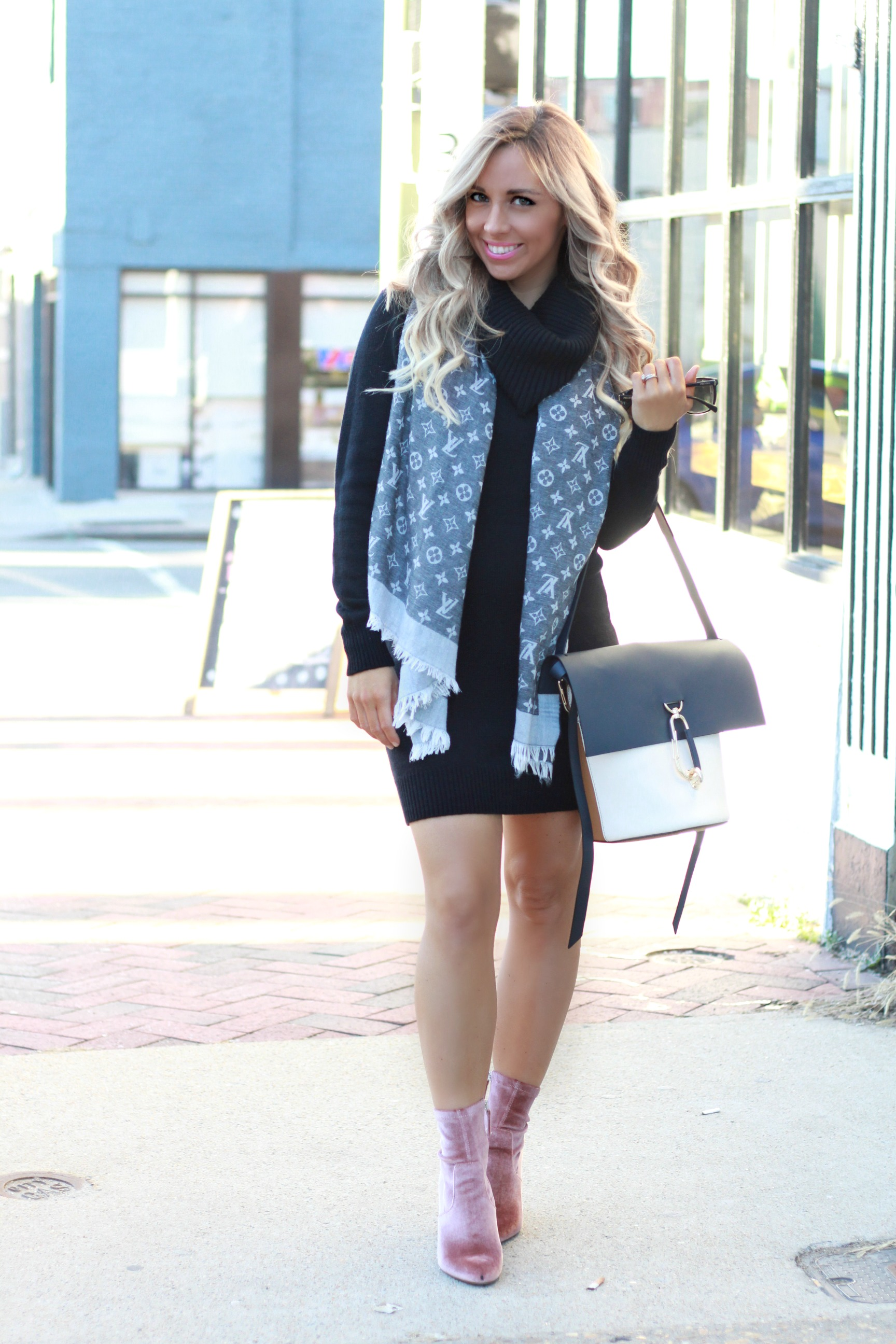 louis vuitton, spring scarf, zac posen, steve madden, turtleneck sweater dress, pregnancy style, dress the bump, richmond virginia, southern bloggers, southern girl, southern style, bellami hair extensions, louis vuitton scarf, spring scarf, blush, velvet booties, maternity style, pregnancy outfits