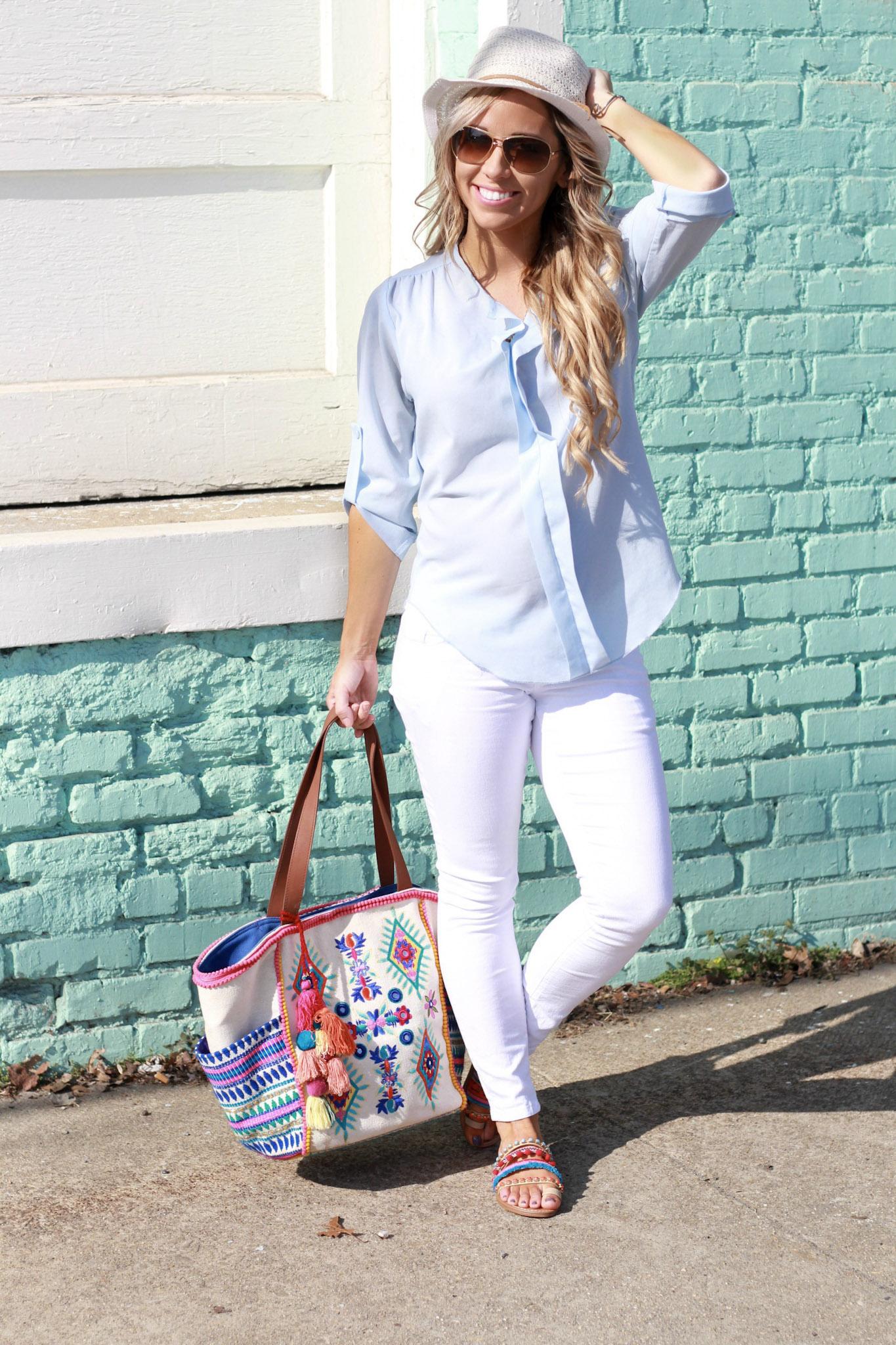 Perfect white skinny jean and pom pom sandal