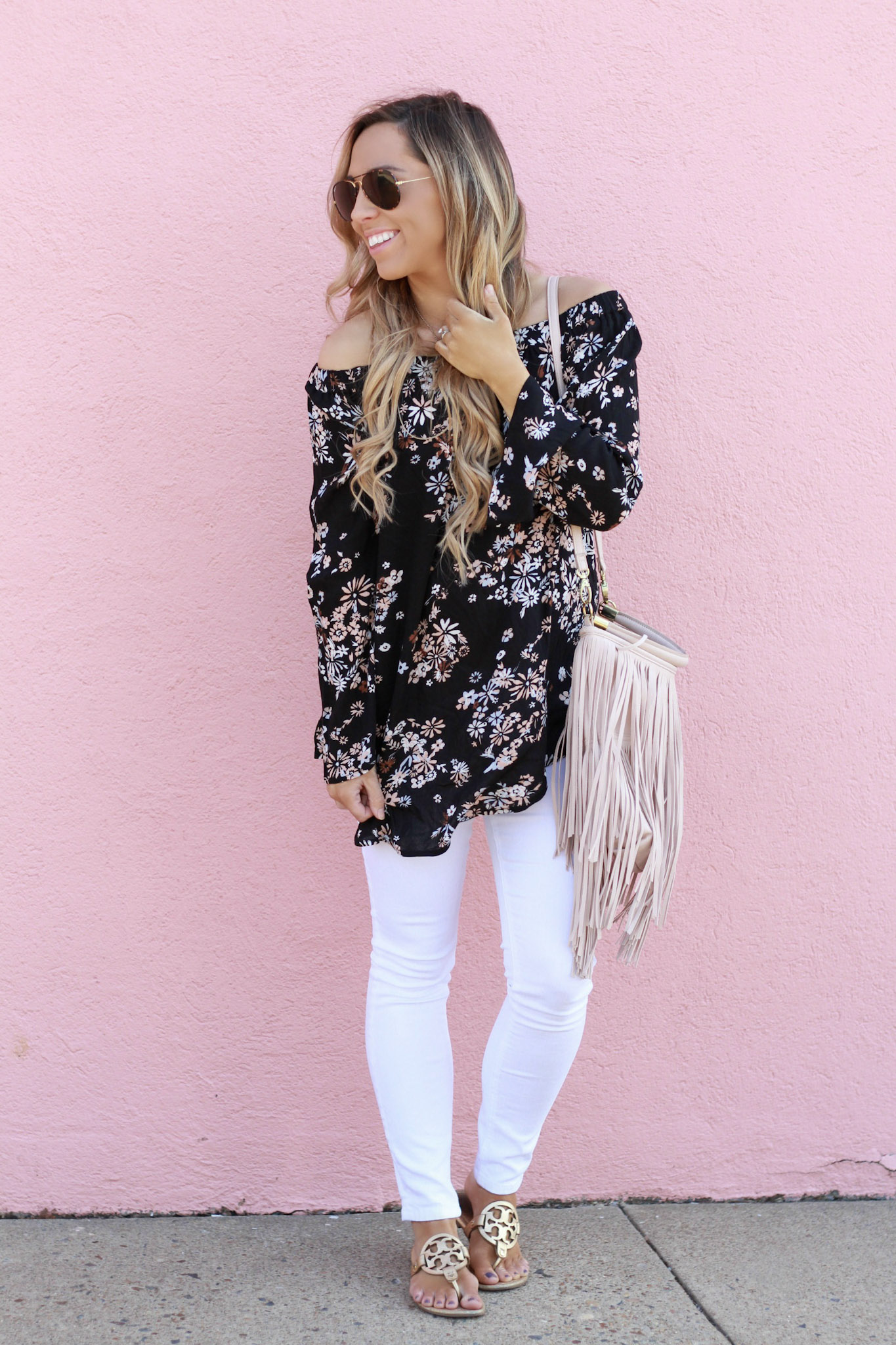 accordingtoblaire, according to blaire, floral ots top, nordstrom, fashion blogger, rva blogger, fringe bag, white skinny jeans, maternity jeans, hair extensions, spring 2017 trends