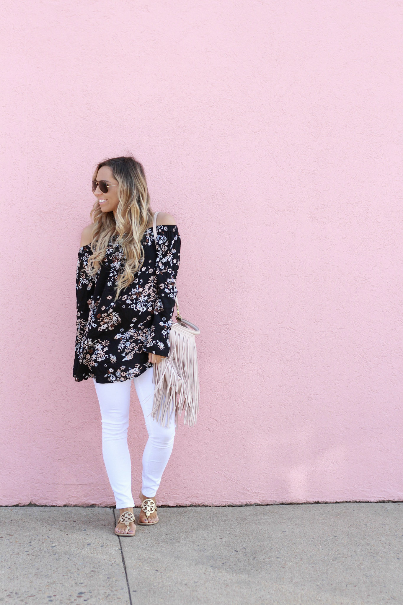accordingtoblaire, according to blaire, floral ots top, nordstrom, fashion blogger, rva blogger, fringe bag, white skinny jeans, maternity jeans, bellami hair extensions, guy tang extentions