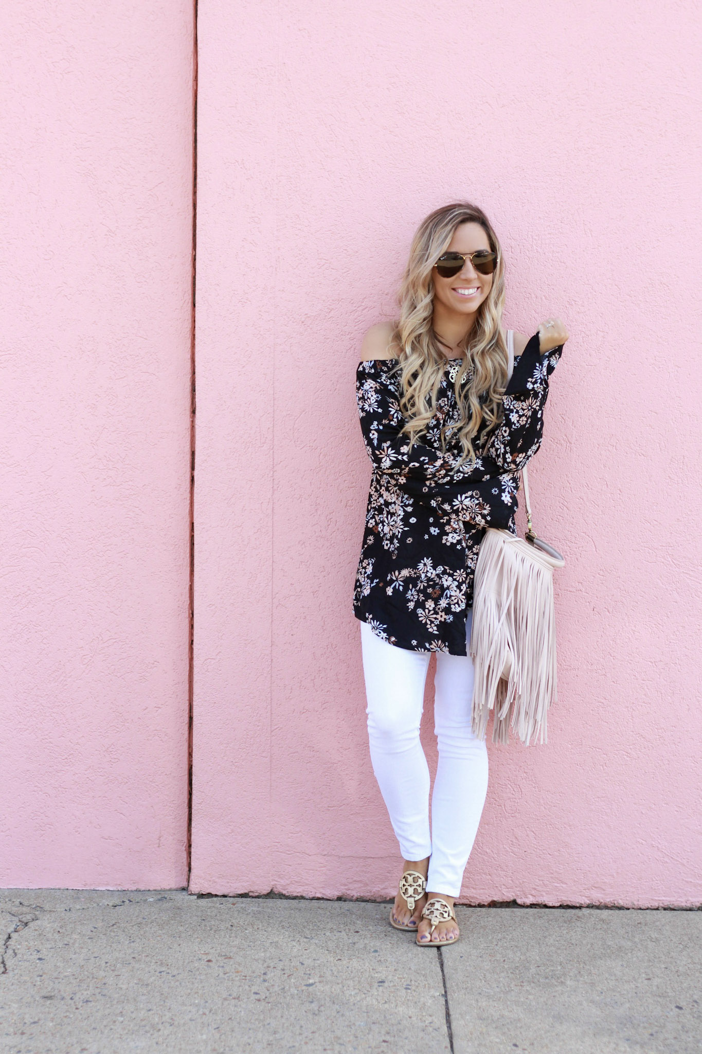 accordingtoblaire, according to blaire, floral ots top, nordstrom, fashion blogger, rva blogger, fringe bag, white skinny jeans, maternity jeans, off the shoulder top