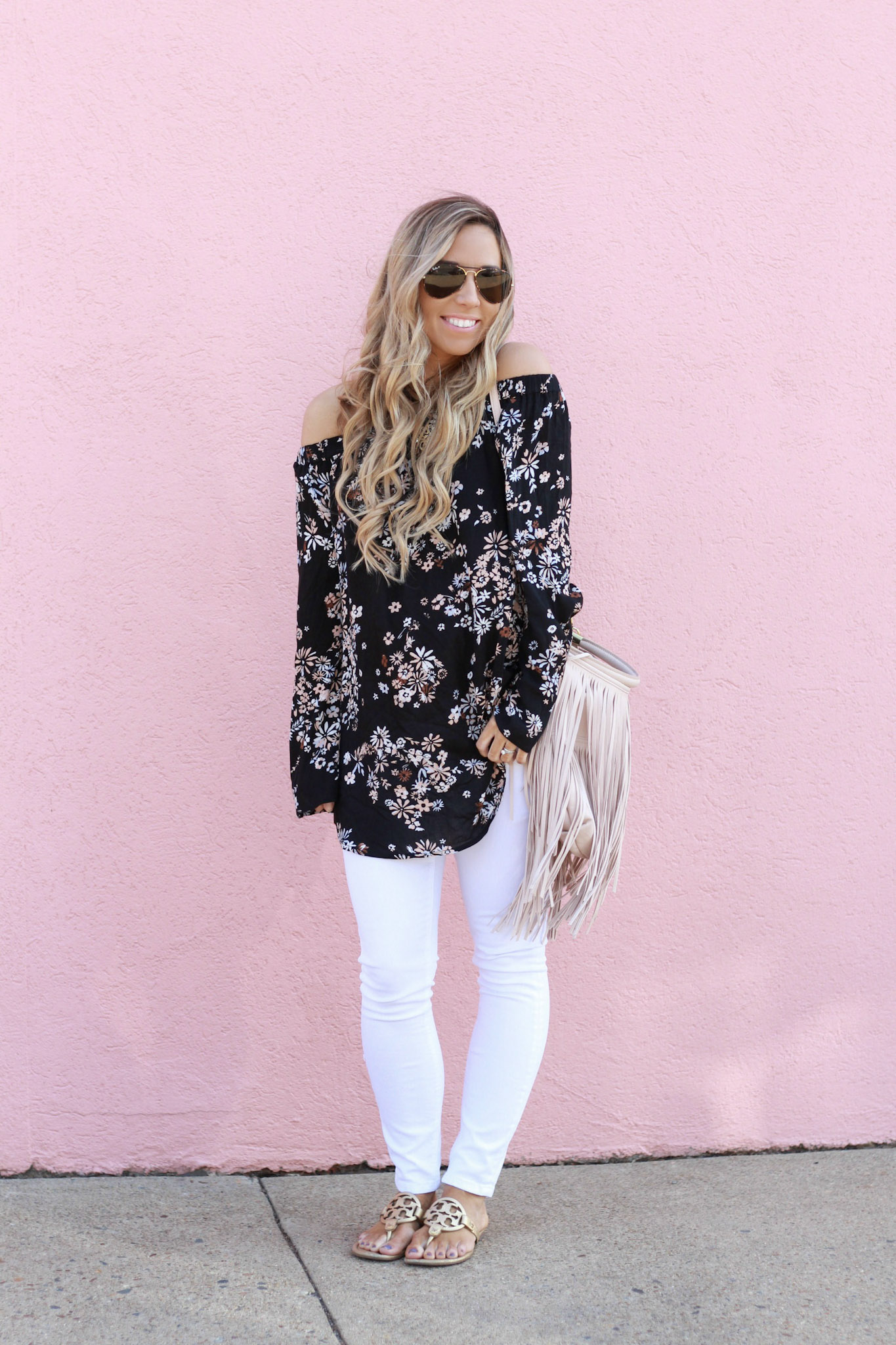 accordingtoblaire, according to blaire, floral ots top, nordstrom, fashion blogger, rva blogger, fringe bag, white skinny jeans, maternity jeans, tory burch miller sandals, best white jeans