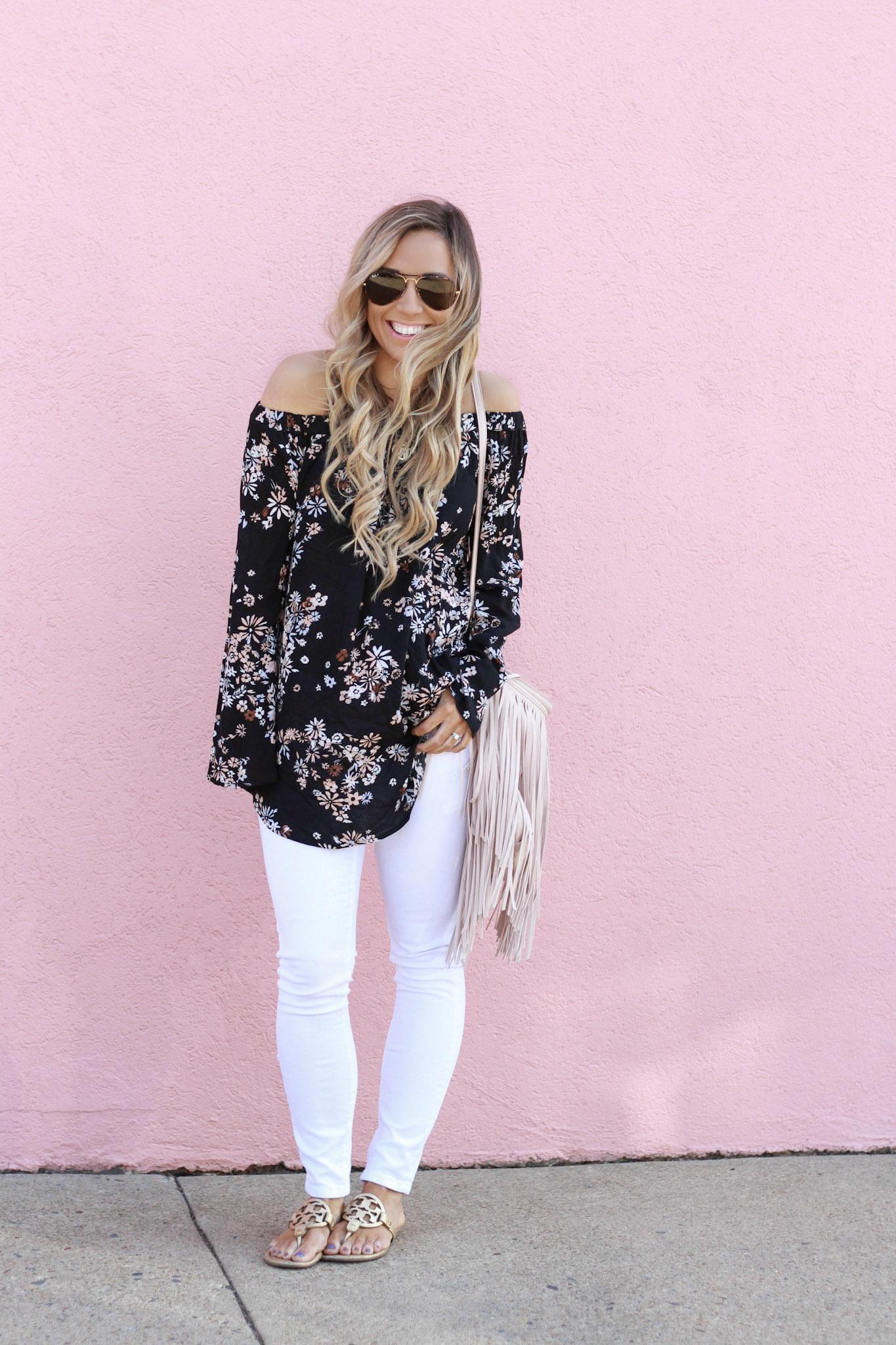 accordingtoblaire, according to blaire, floral ots top, nordstrom, fashion blogger, rva blogger, fringe bag, white skinny jeans, maternity jeans