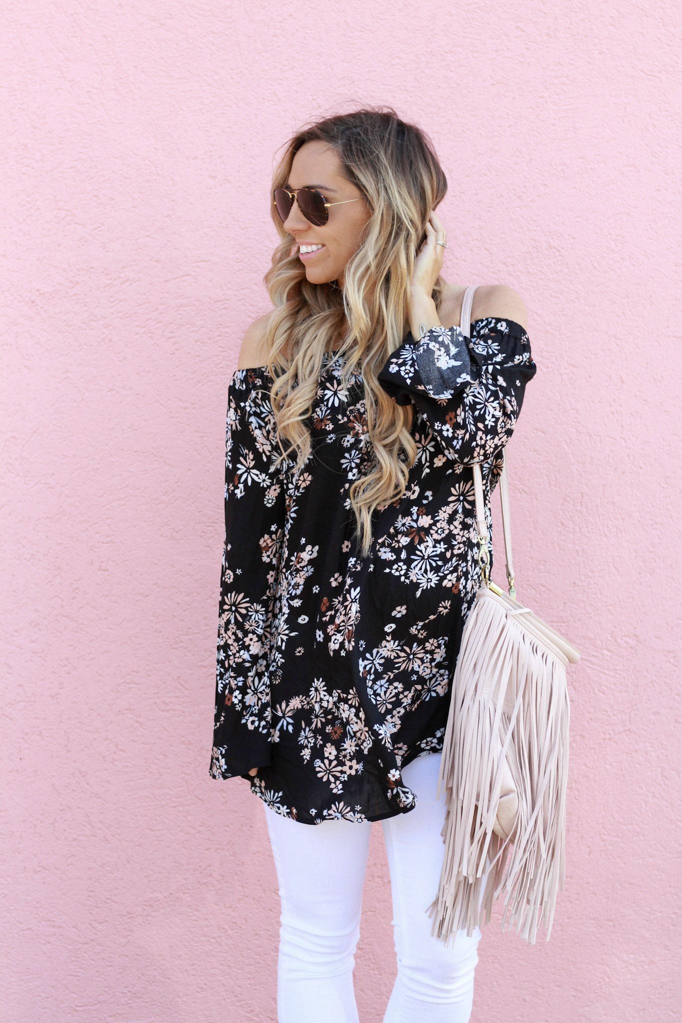 accordingtoblaire, according to blaire, floral ots top, nordstrom, fashion blogger, rva blogger, fringe bag, white skinny jeans, maternity jeans, top fashion bloggers
