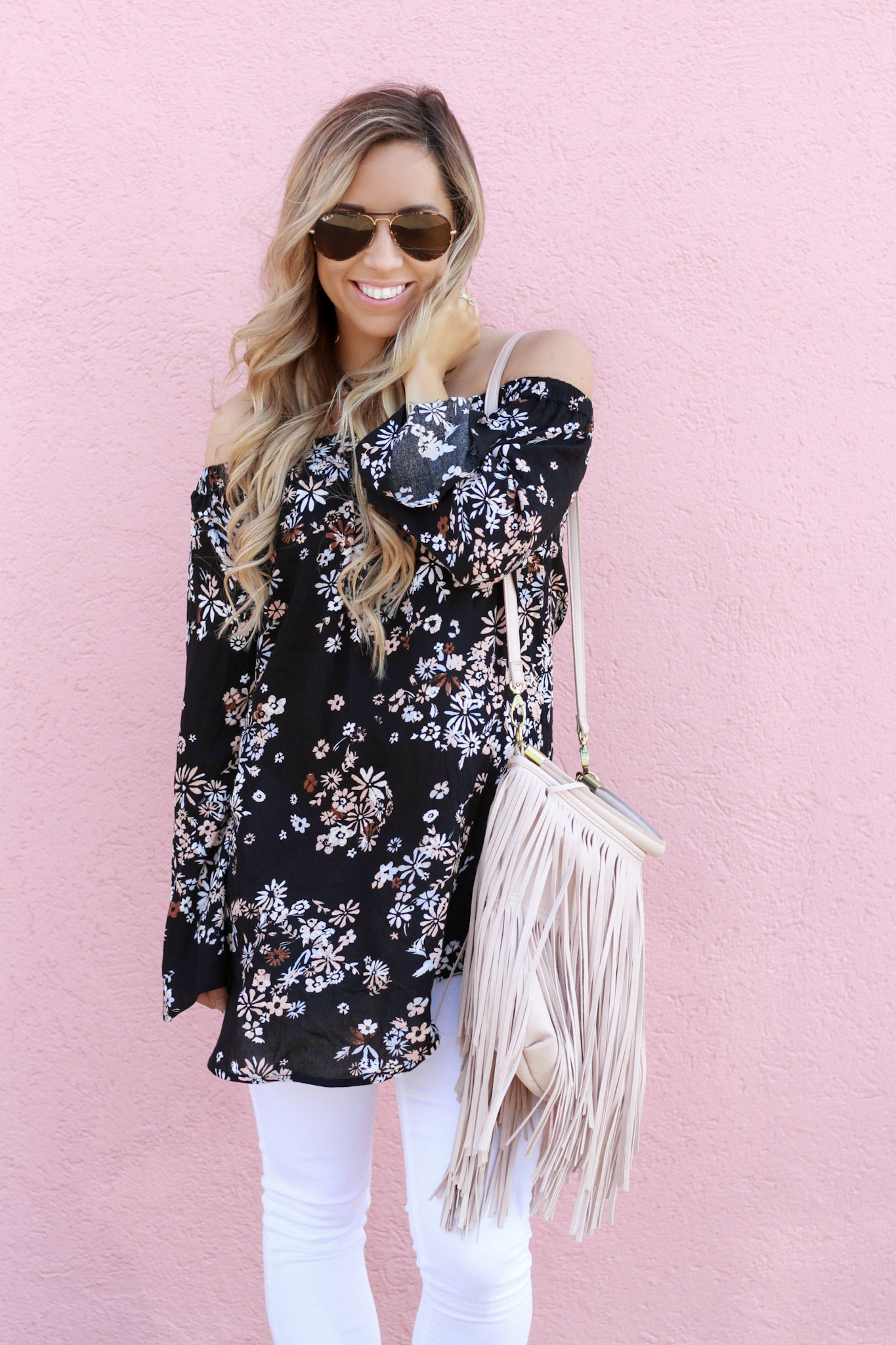 accordingtoblaire, according to blaire, floral ots top, nordstrom, fashion blogger, rva blogger, fringe bag, white skinny jeans, maternity jeans, trending for spring, spring trends 2017