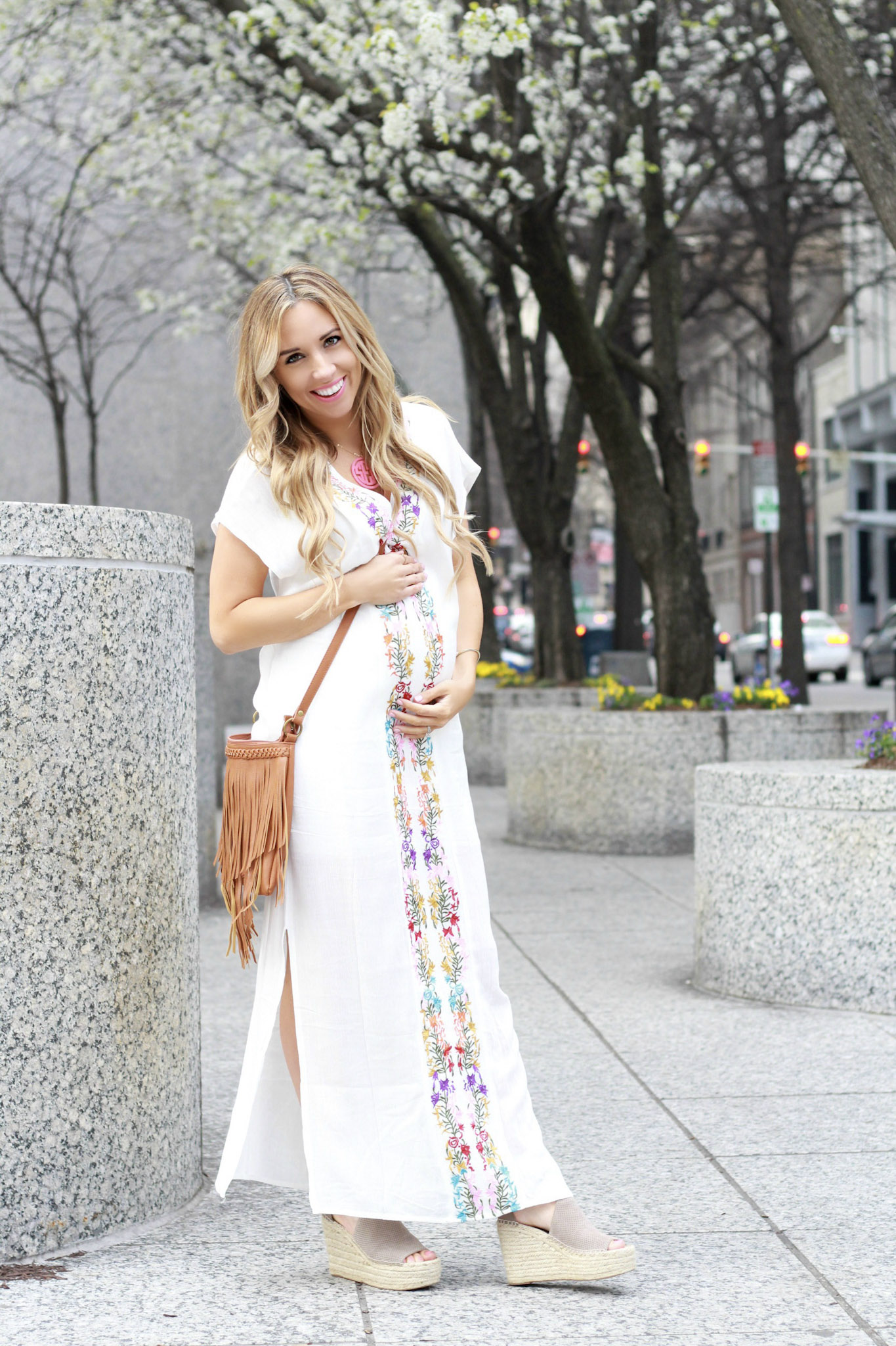 Beachy Boho Embroidered Maxi Dress