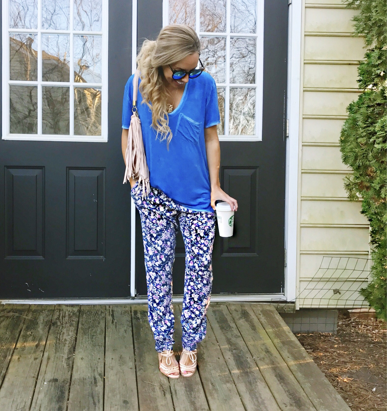 Floral Jogger Pants & Free People T-shirt