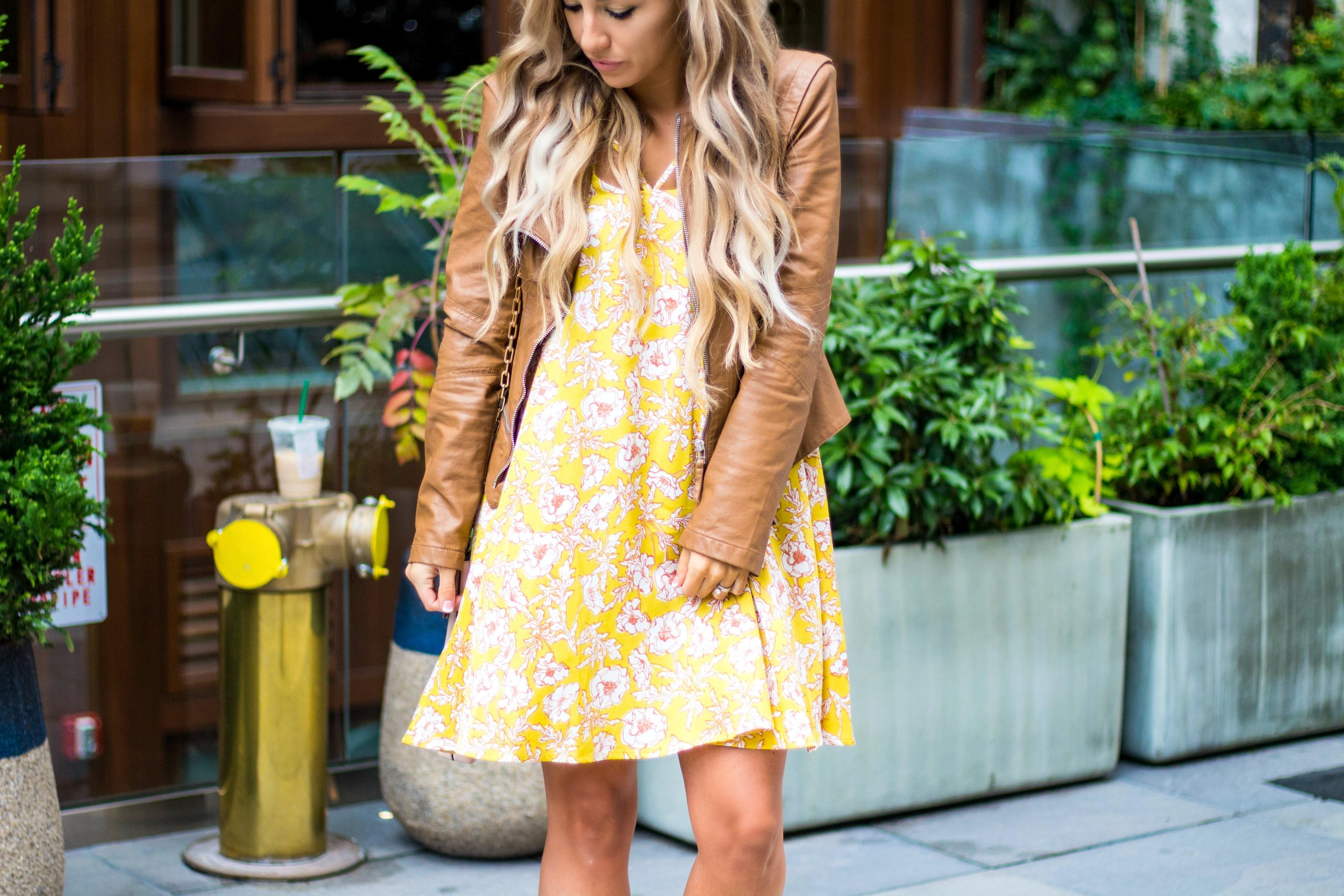 Leather Jacket & Floral Dress