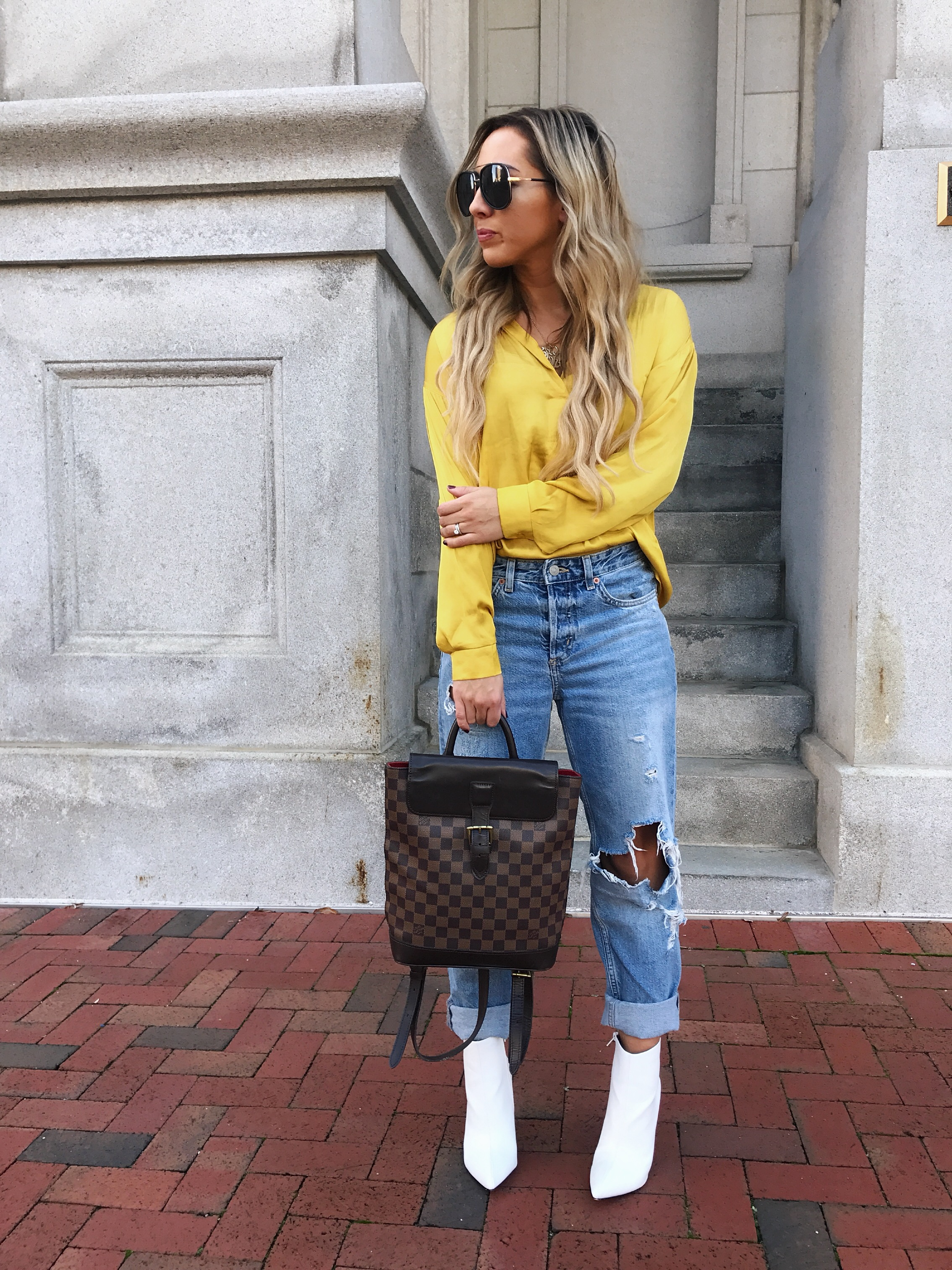 yellow satin top